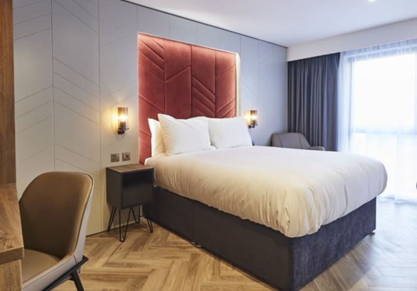 Smart Studio Student Apartment in York. King Size Bed and LED Headboard. IconInc @ Roomzzz