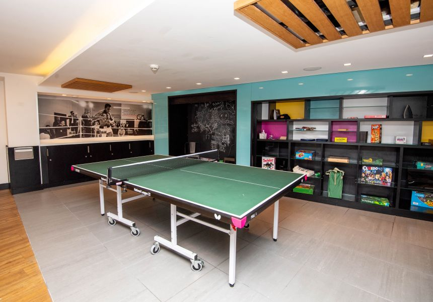Games Room with Table Tennis and board games. IconInc, The Edge. Student Accommodation in Leeds