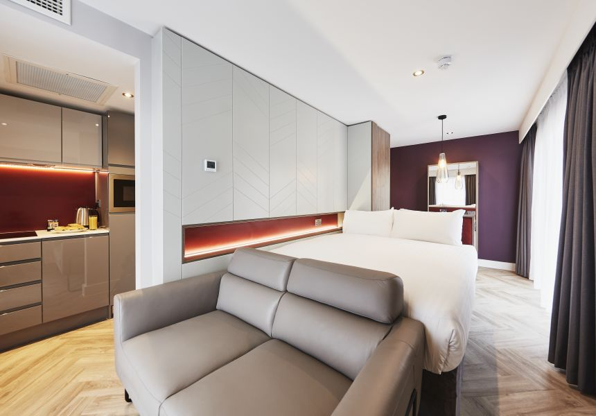 Neo Studio Student Apartment in Newcastle with Sofa and Kitchen. IconInc @ Roomzzz Newcastle
