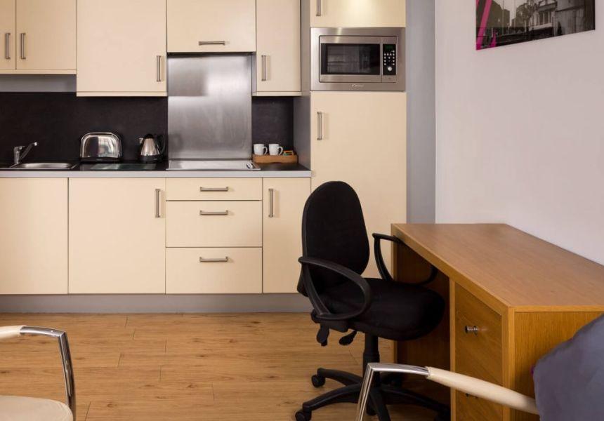 Grande studio student apartment in Leeds. Kitchen and Workspace. IconInc @ Roomzzz Leeds City West