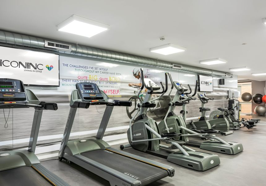 Students working out in the gym at IconInc, The Edge. Student Accommodation in Leeds