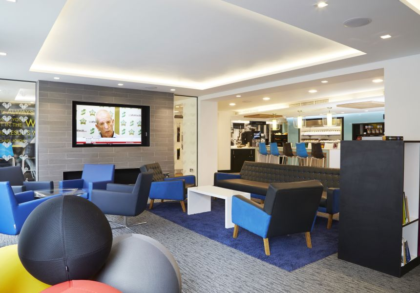 Lounge area with flat screen tv and seating at IconInc, The Edge. Student Accommodation in Leeds