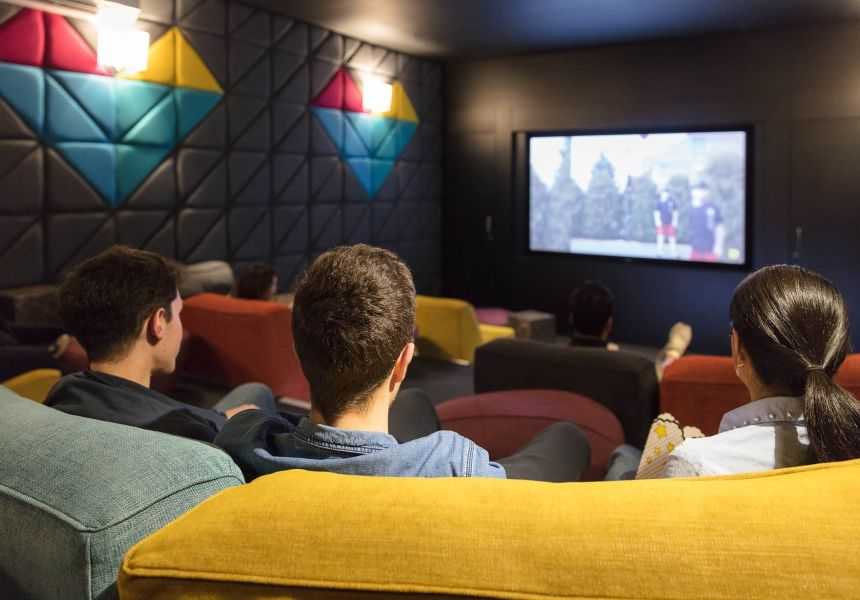 Students in the Cinema at IconInc, The Glassworks. Student Accommodation in Leeds