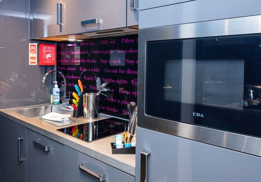 Fully fitted kitchen with microwave/grill, utensils and kettle. Student Accommodation in Chester