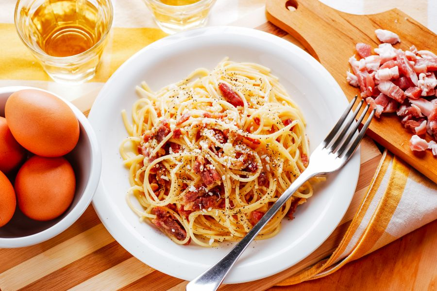 Spaghetti Carbonara mit Pecorino