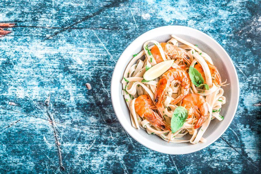 Kokos-Limetten-Pasta mit Shrimps