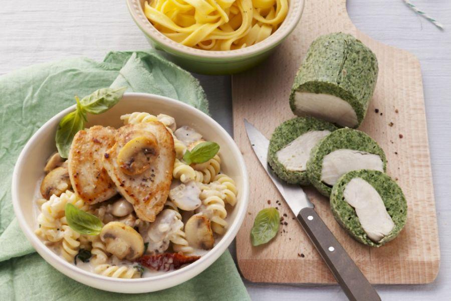 Champignon-Hähchenpfanne mit Nudeln