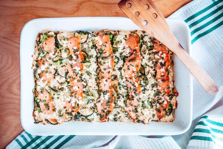 Zucchiniauflauf mit Lachs und Brokkoli