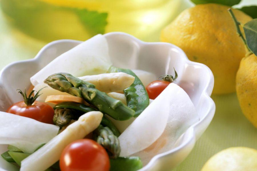Zitronenfondue mit Spargel & Kohlrabi (Low Carb)