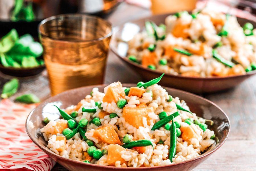 Risotto mit grünen Bohnen und Süsskartoffeln