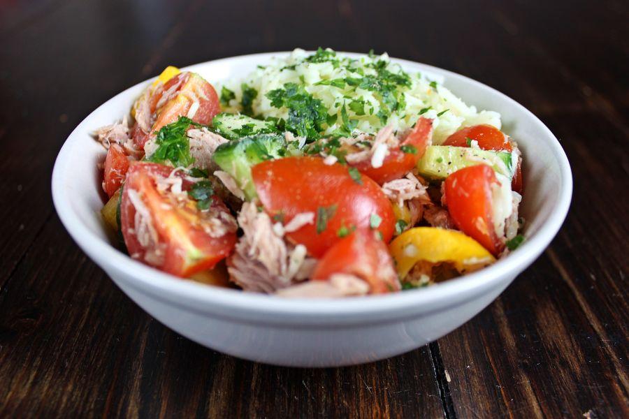Thunfisch-Gemüse-Reis-Salat