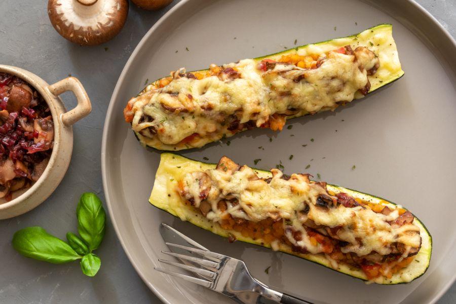 Gefüllte Zucchini mit Linsen & Champignons