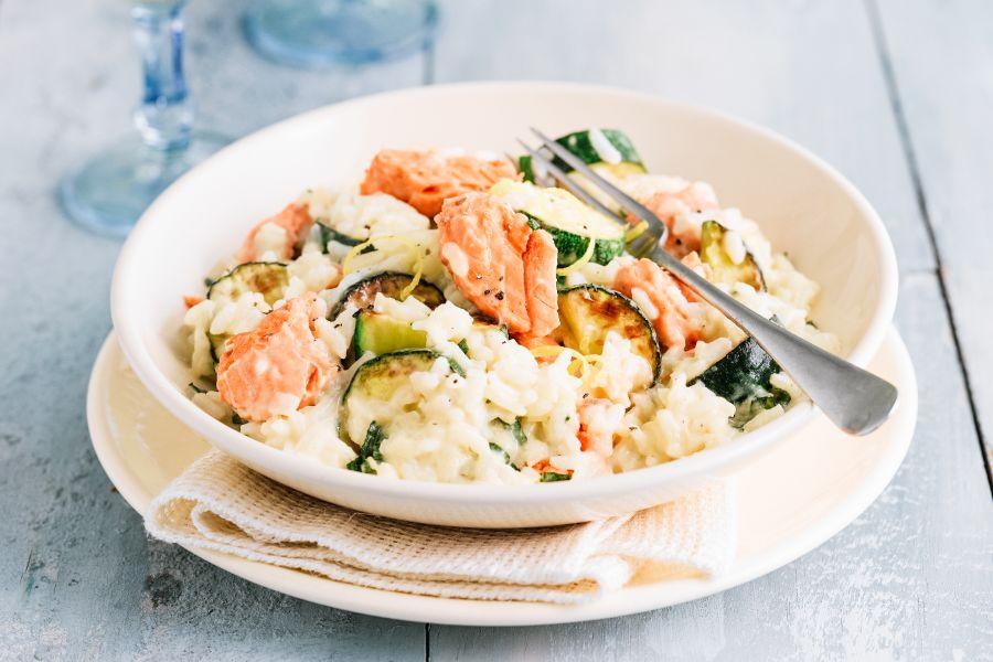 Lachs-Zucchini-Risotto