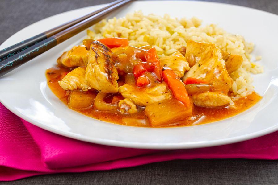 Süß-saure Pute mit Reis