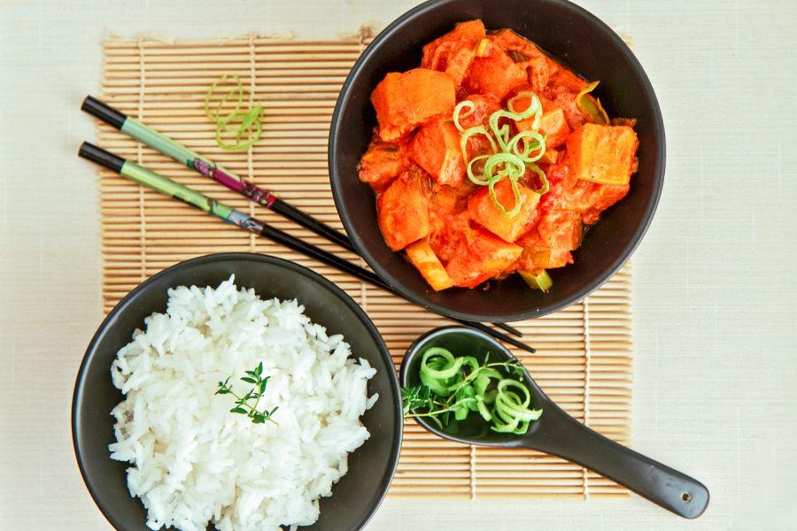 Kürbiscurry mit Reis