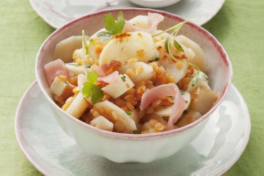 Linsen-Schinken-Salat mit Petersilienwurzeln