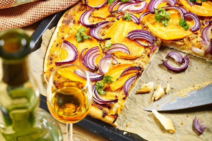Süßkartoffel-Flammkuchen mit Calvados