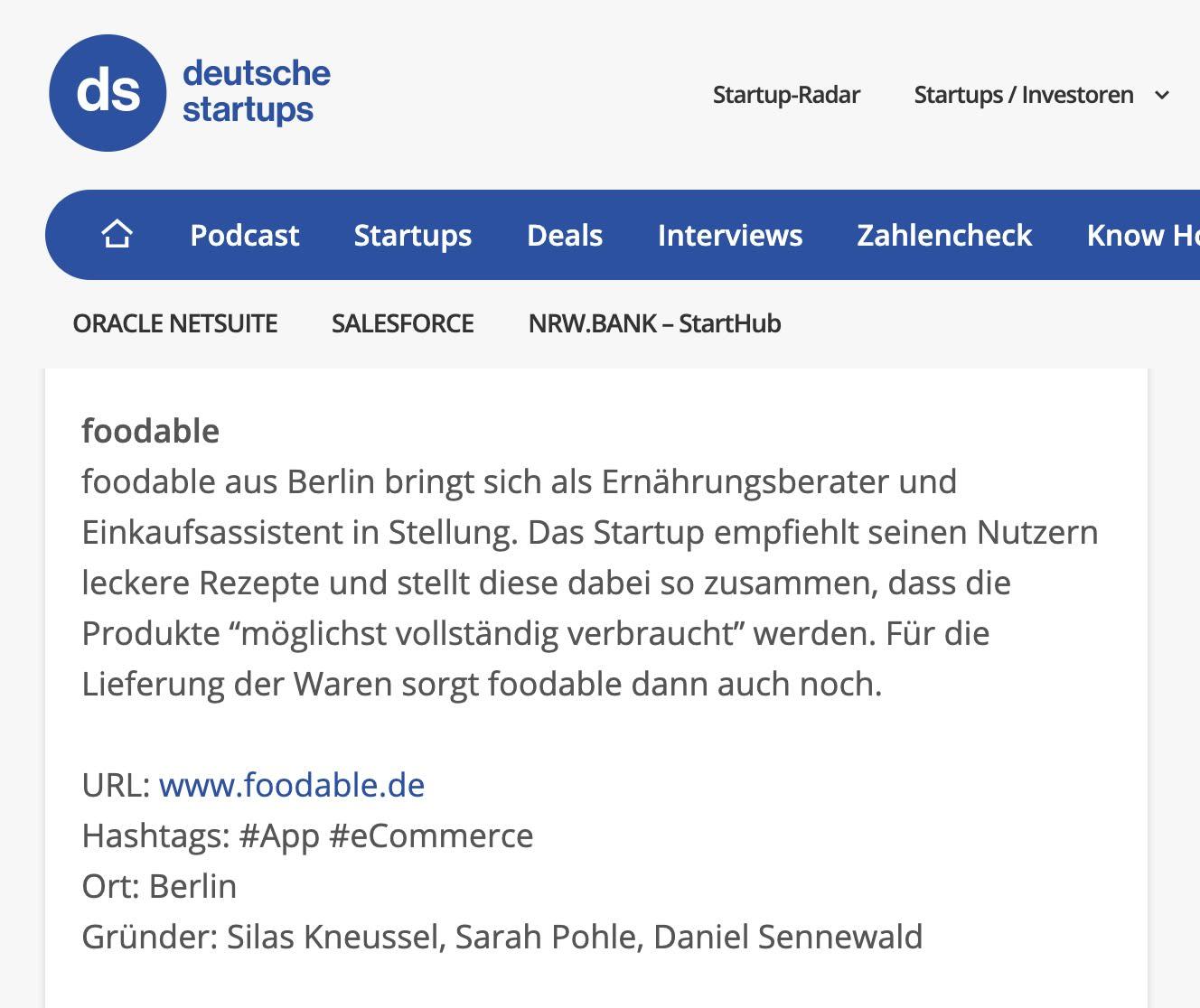 deutsche startups erwähnt foodable®