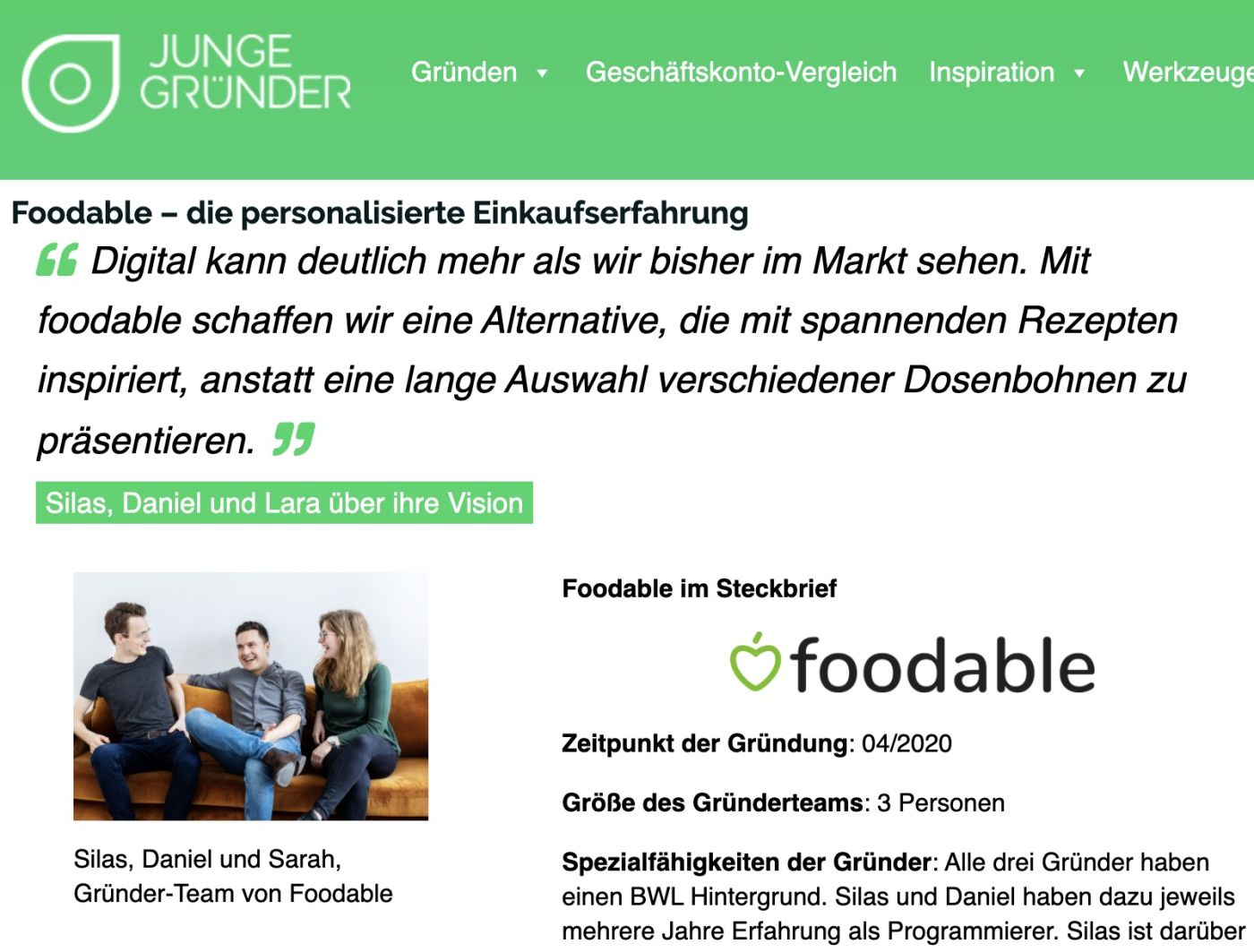 foodable®-Steckbrief bei Junge Gruender