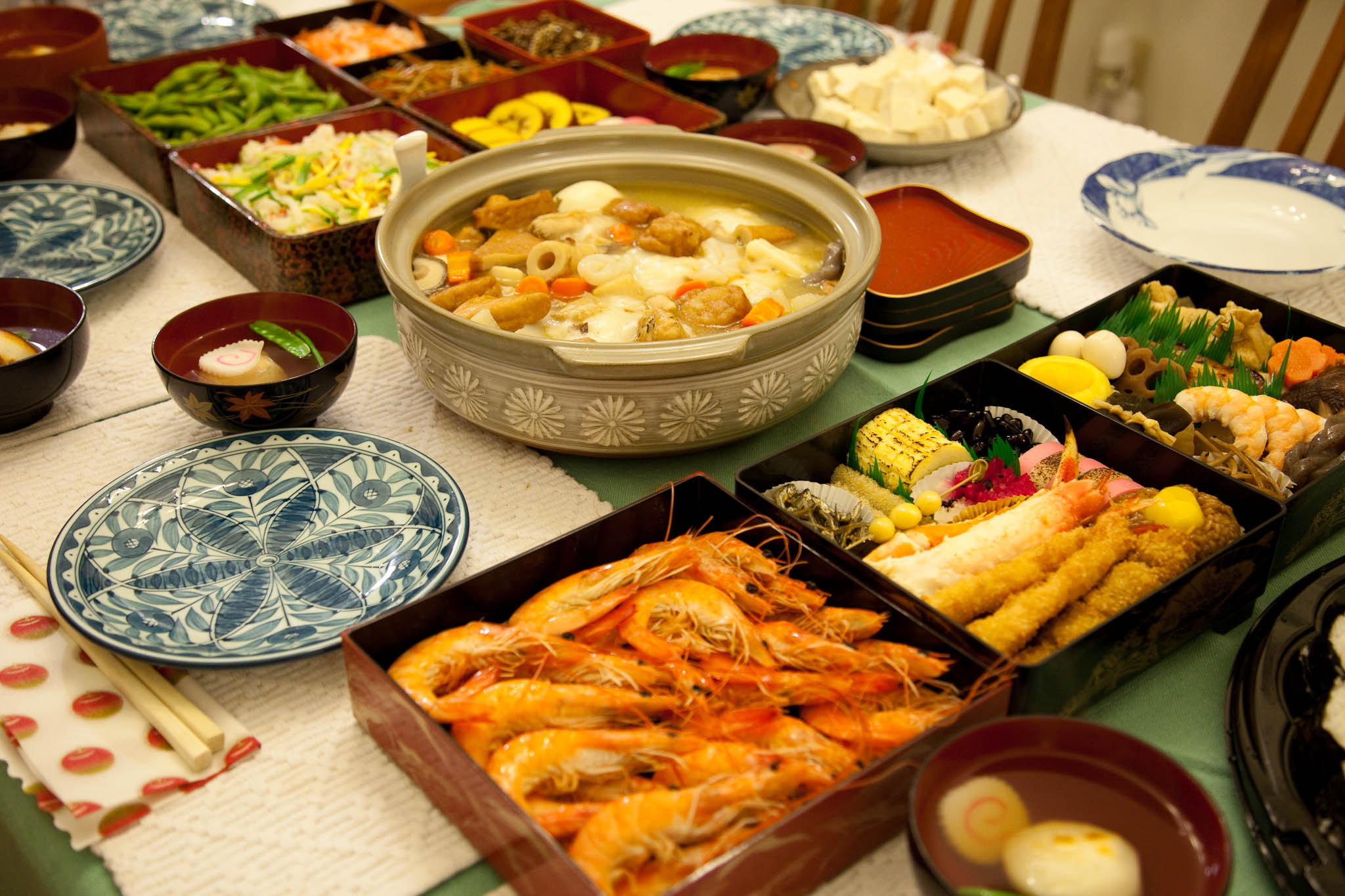 Different Japanese dishes on a huge table.jpg