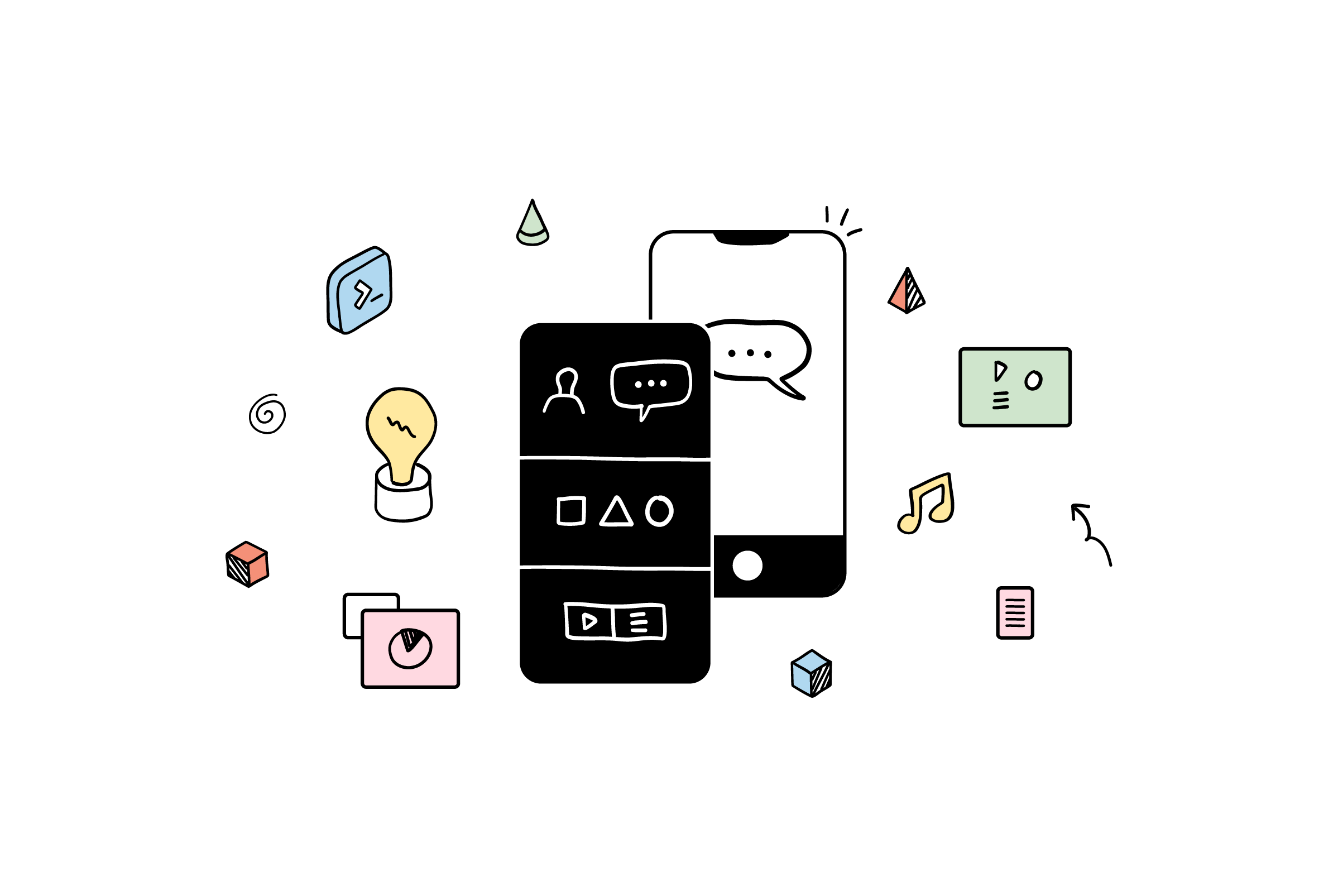 a graphic illustration of two mobile phones with icons floating around them