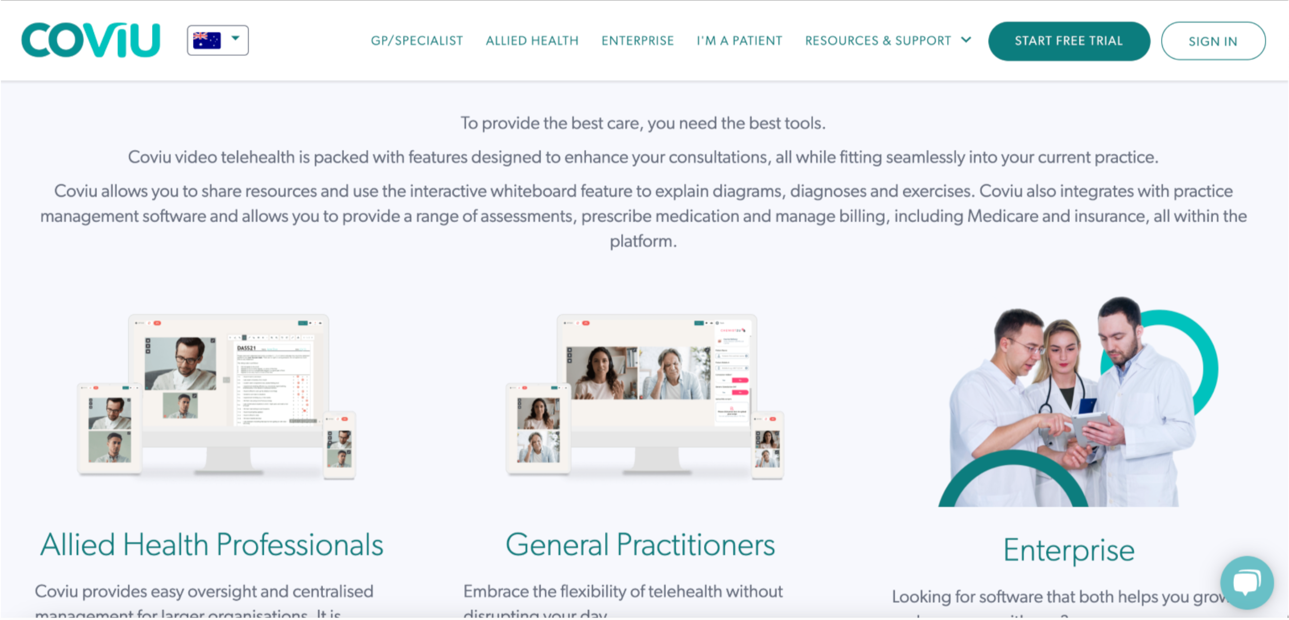 a screengrab of the coviu website showing their software offerings