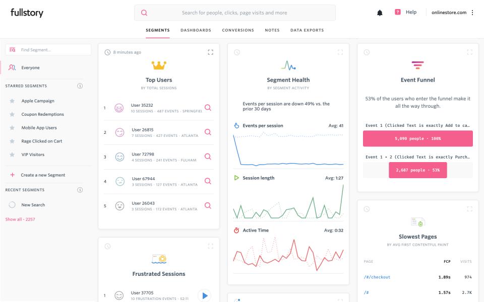 a screenshot of the Fullstory analytics tool dashboard