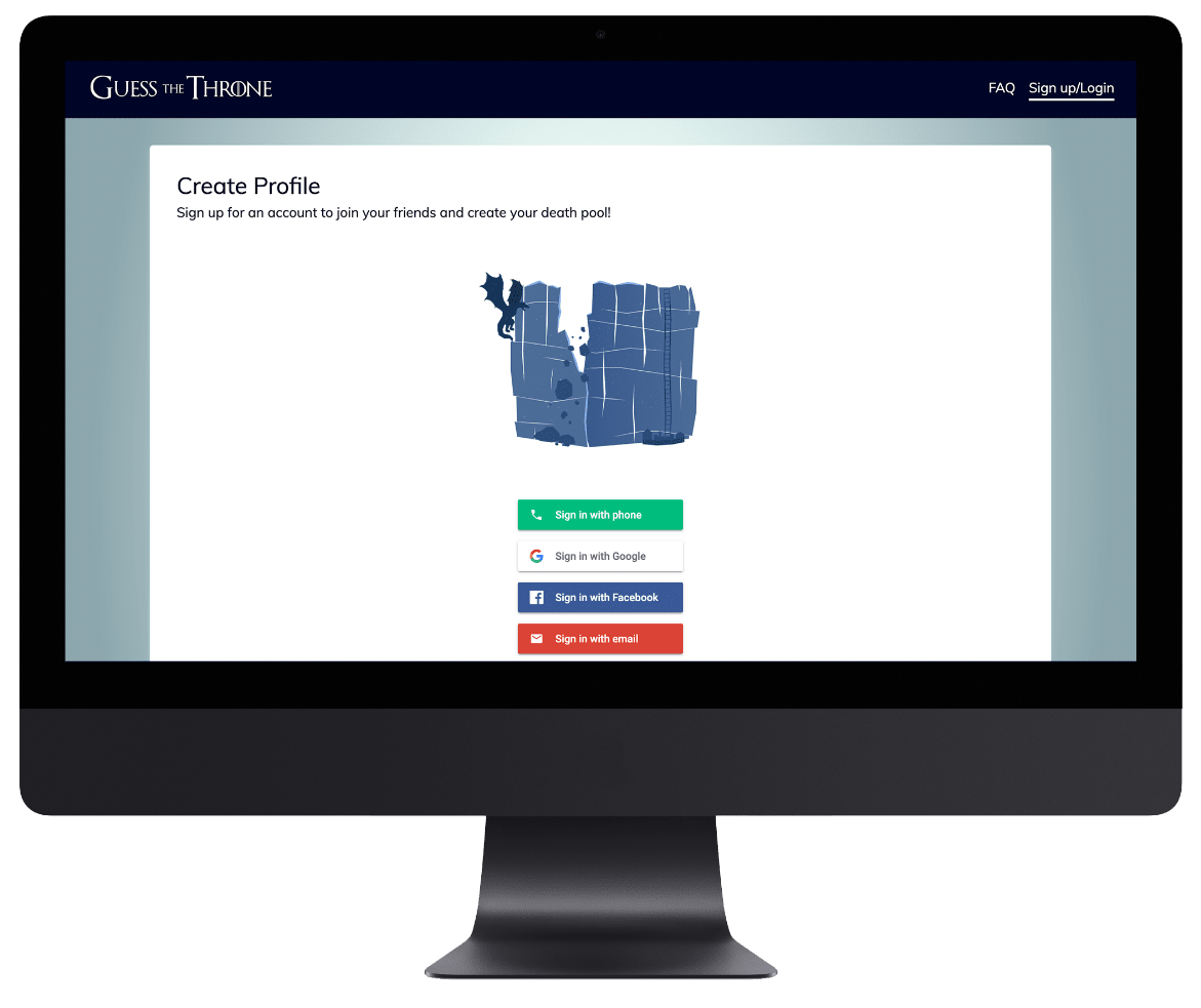 Guess the Throne login page