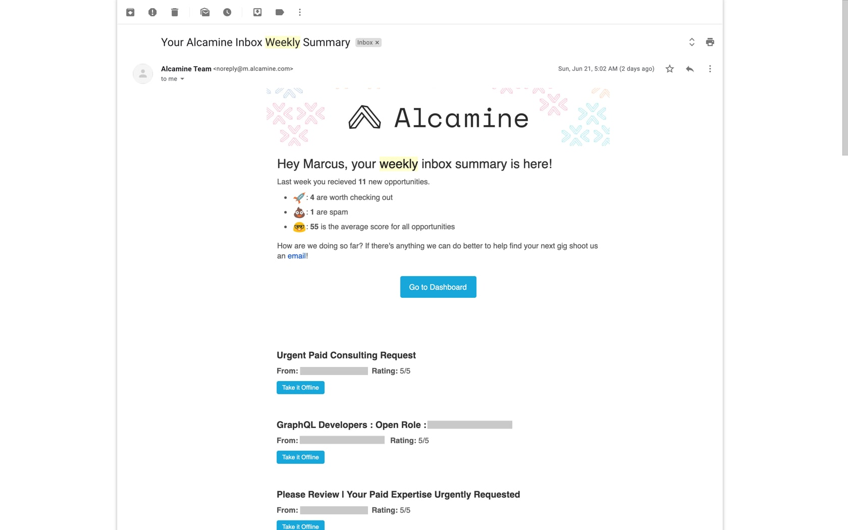 Alcamine Weekly Email