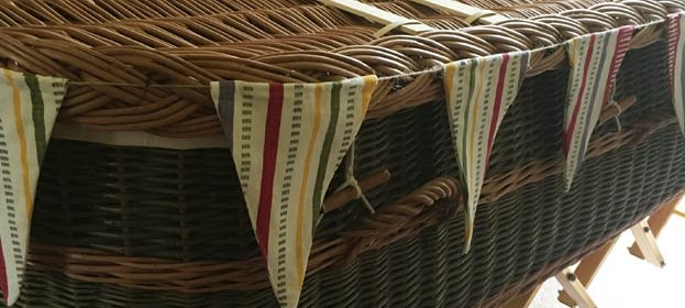 Rachael's coffin with bunting