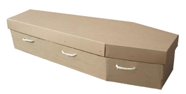 Brown cardboard coffin