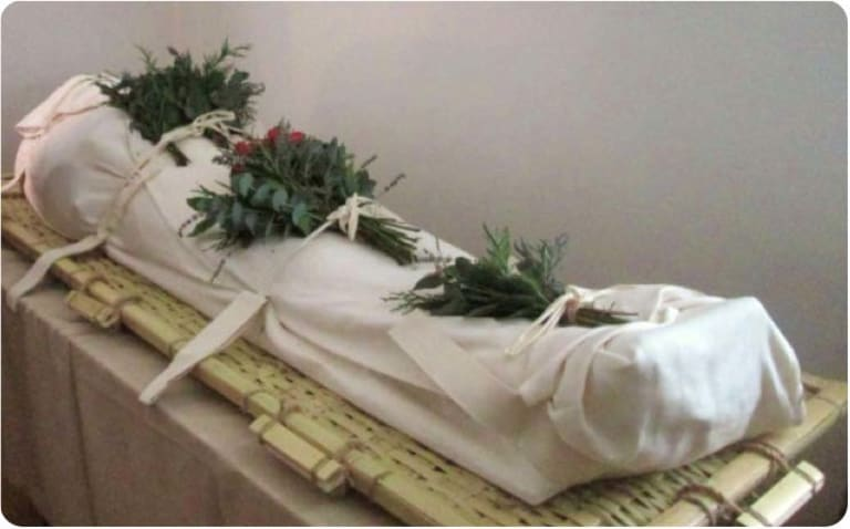 A body wrapped in a shroud