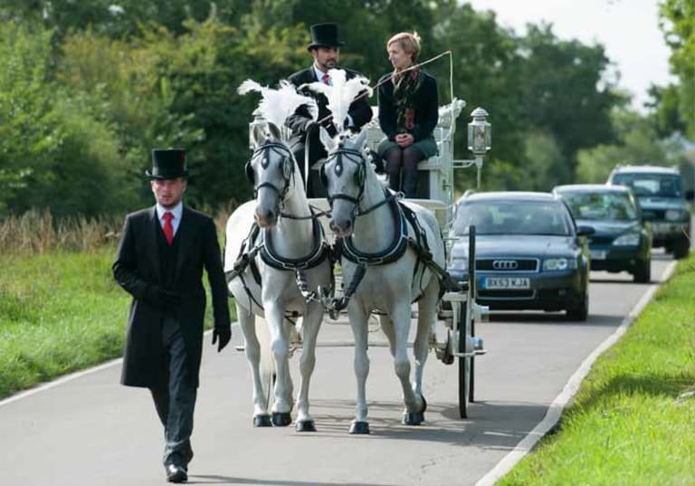 White horse hearse