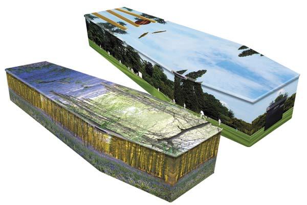 Printed cardboard coffins