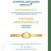 Best Business 2015 award A Natural Undertaking