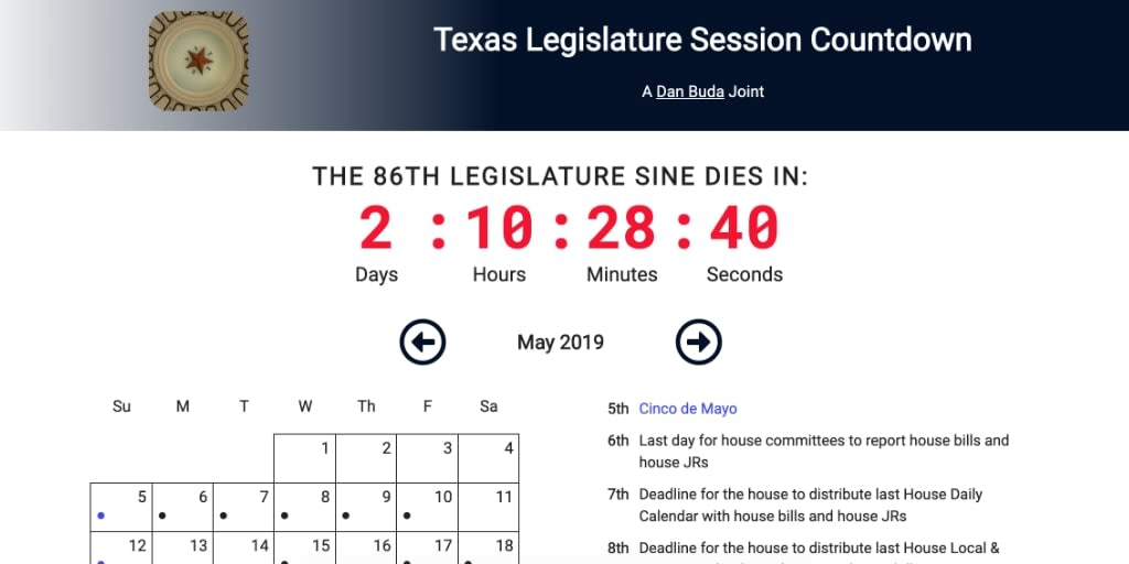 legislature countdown clock desktop version