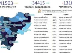 В Смоленской области новые случаи коронавируса выявили на 18 территориях