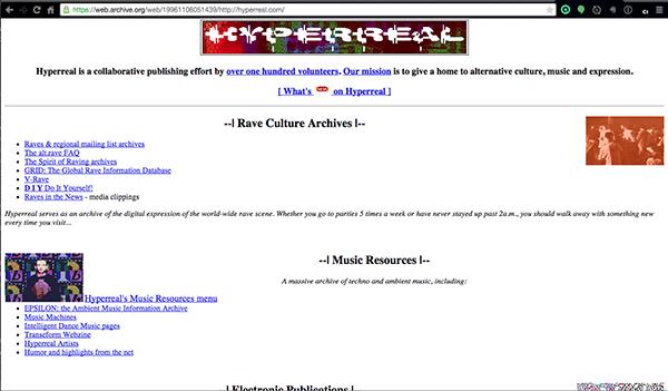 Hyperreal.org circa 1996 (via Internet Archive}