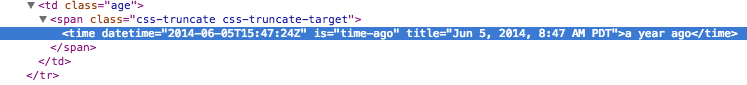 HTML source for time type extension custom element