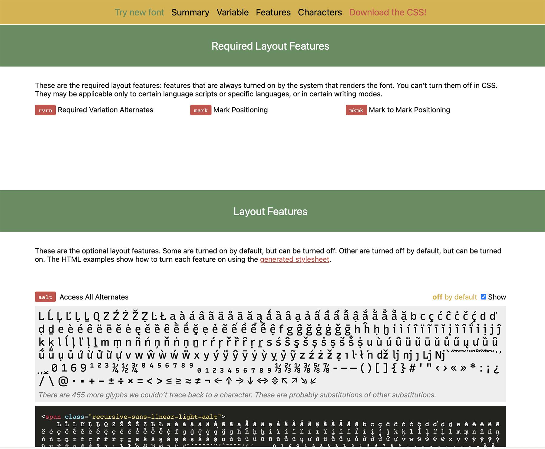 Example of Wakamaifondue's display of OpenType layout features