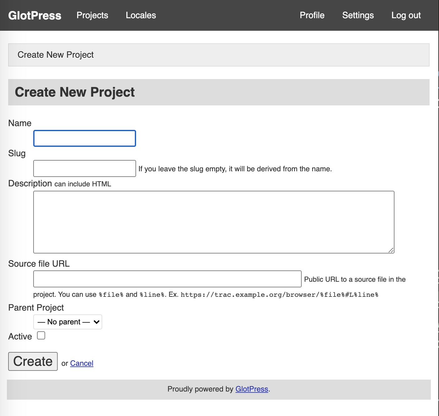 Glotpress project creation screen