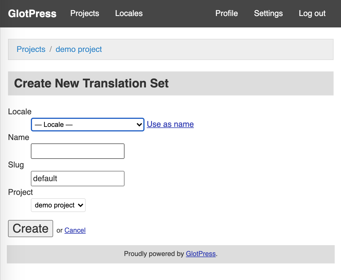Create a new translation set in Glot Press form with a pull down menu, two input boxes and another pull down menu