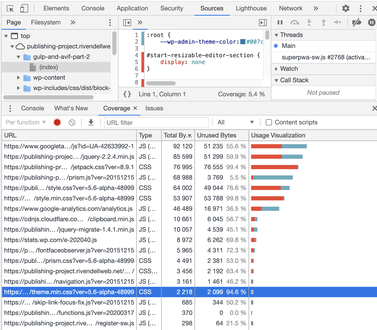 Chrome DevTools showing the results of a coverage analysis