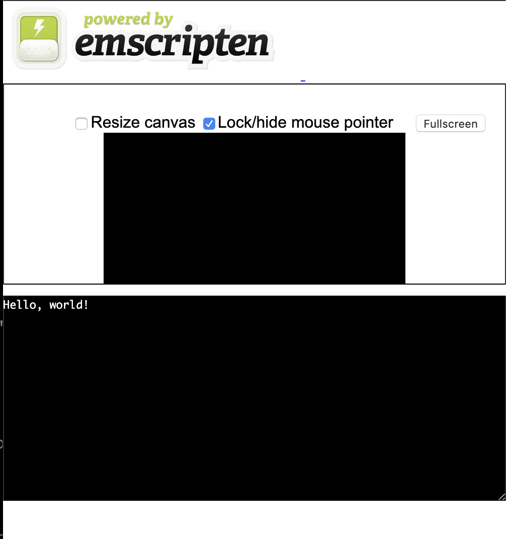 Emscripten HTML page show results of the code