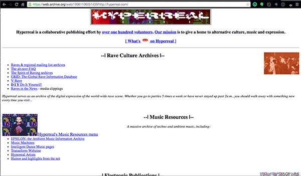 Hyperreal.org circa 1996 (via Internet Archive}