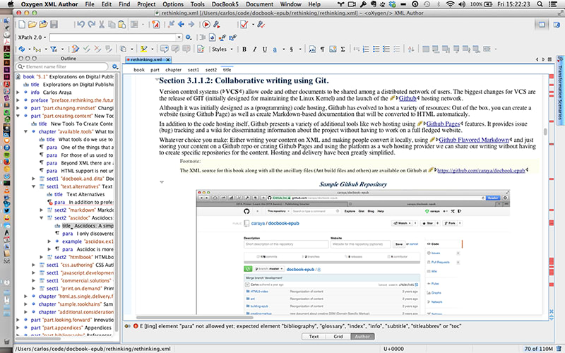 Visual editing using OxygenXML Author