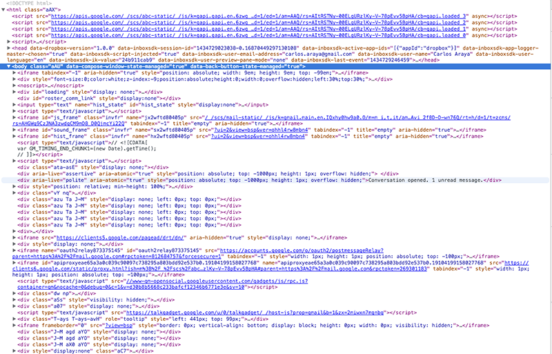 Screenshot of browser showing source code for Gmail