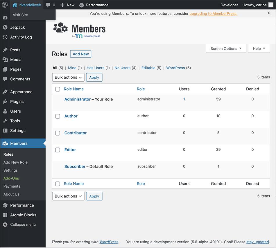 Screenshot showing the Members WordPress Plugin when you first click on Members on the side menu