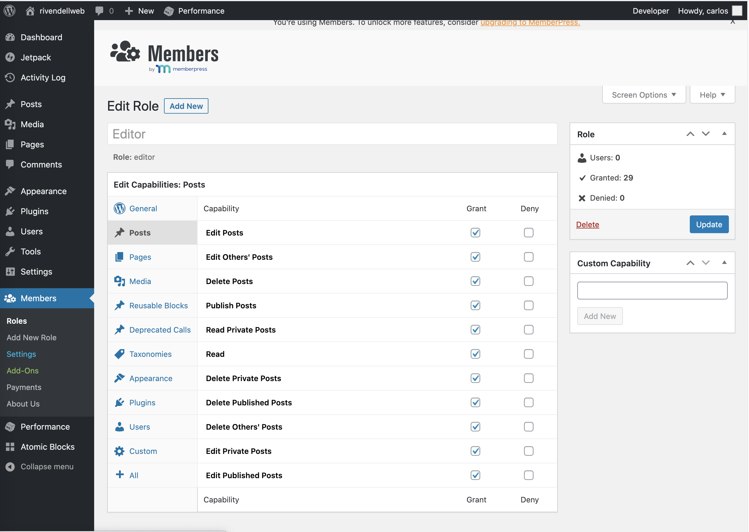 Members WordPress plugin configuratioon screen showing the categories you can choose from
