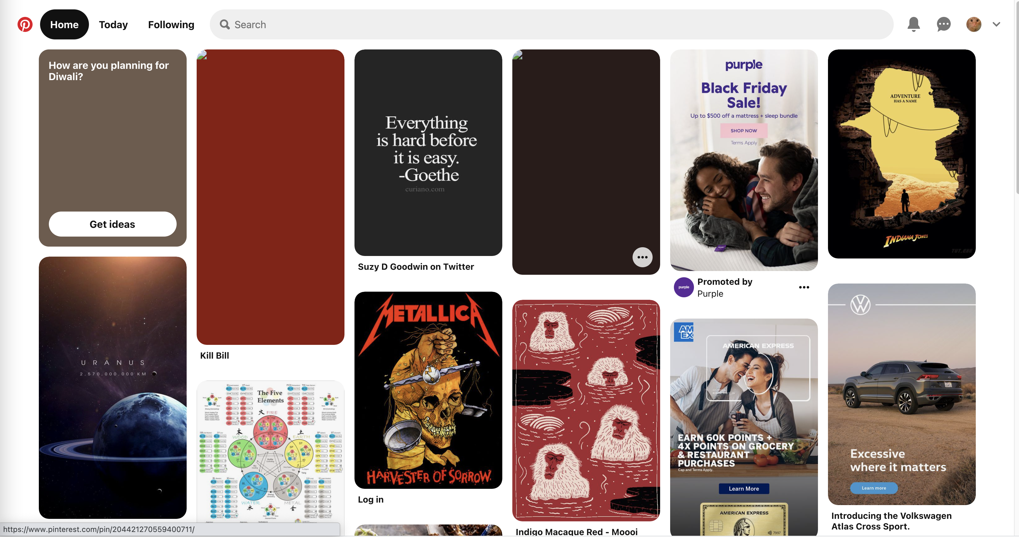 Pinterest home page showing masonry layout where the images will display next to each other regardless of height